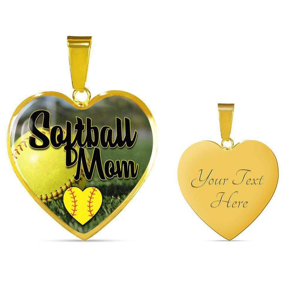Softball Mom Premium Jewelry Jewelry ShineOn Fulfillment Luxury Necklace (Gold) Yes