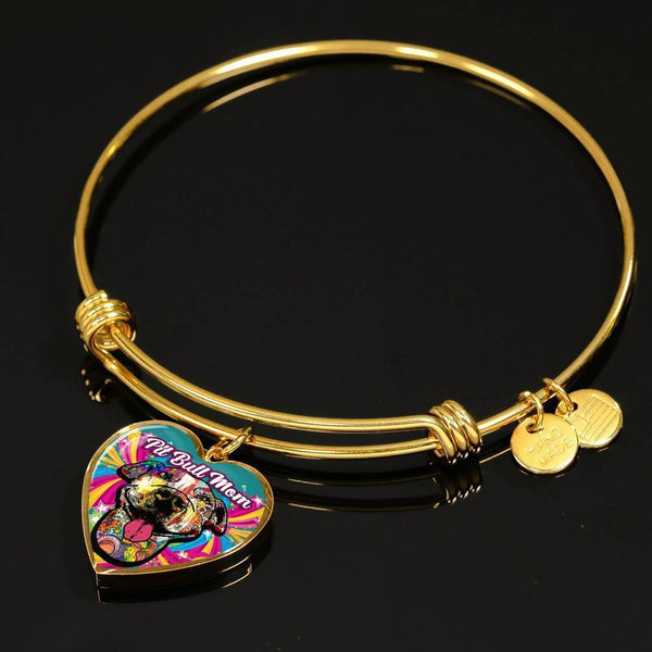 Pit Bull Mom Artistic Premium Jewelry Jewelry ShineOn Fulfillment Luxury Bangle (Gold) No