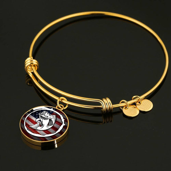 American Fishing Premium Necklace & Bracelets Jewelry ShineOn Fulfillment Luxury Bangle (Gold) No
