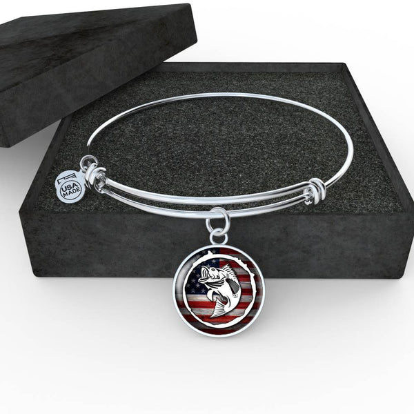 American Fishing Premium Necklace & Bracelets Jewelry ShineOn Fulfillment Luxury Bangle (Silver) No