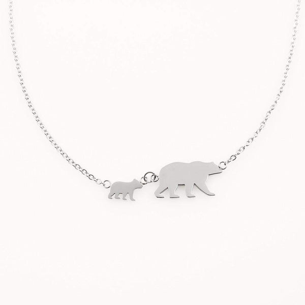 Mama Bear Necklace Personalized with up to 4 Mama Bear Cubs - Silver