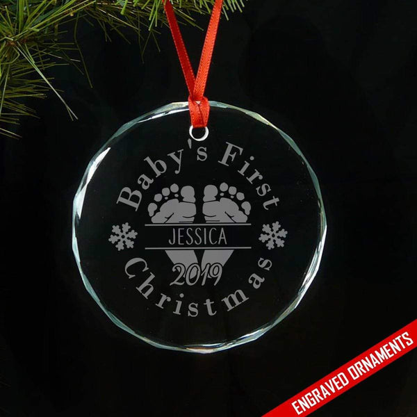 Baby's First Christmas (CUSTOM) Premium Engraved Glass Ornament ZLAZER Circle Ornament