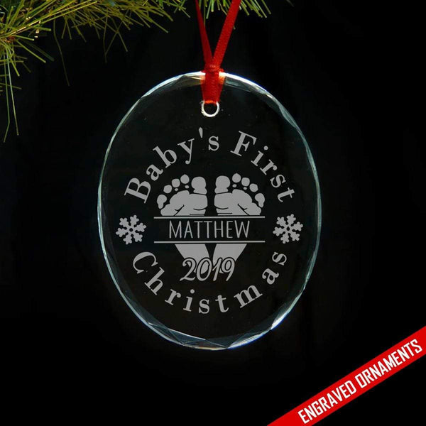Baby's First Christmas (CUSTOM) Premium Engraved Glass Ornament ZLAZER Oval Ornament