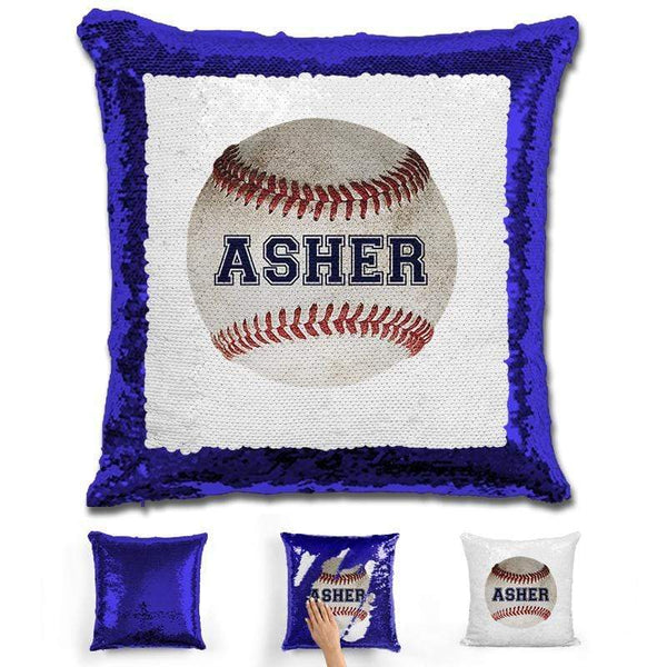 Baseball Personalized Magic Sequin Pillow Pillow GLAM Blue