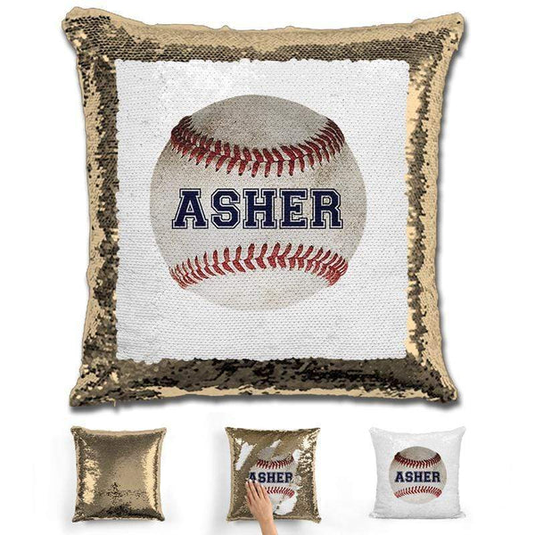 Baseball Personalized Magic Sequin Pillow Pillow GLAM Gold