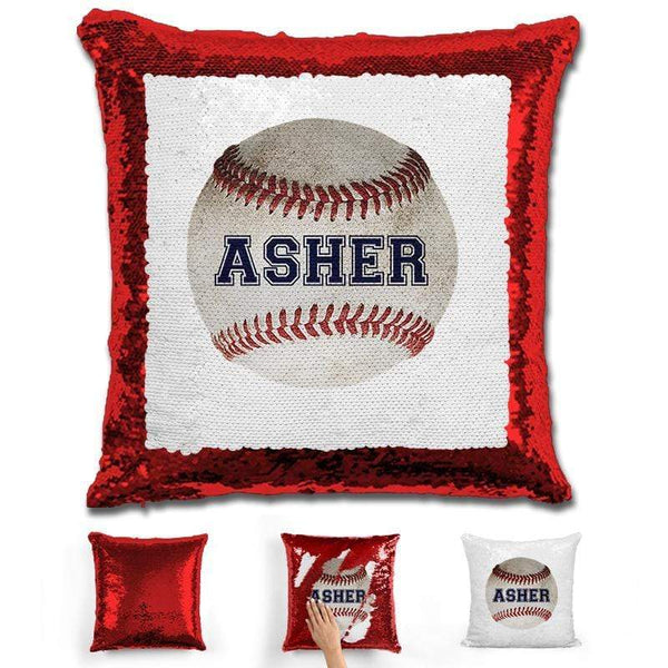 Baseball Personalized Magic Sequin Pillow Pillow GLAM Red