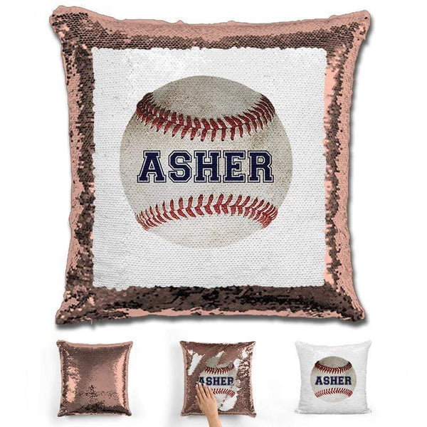 Baseball Personalized Magic Sequin Pillow Pillow GLAM Rose Gold