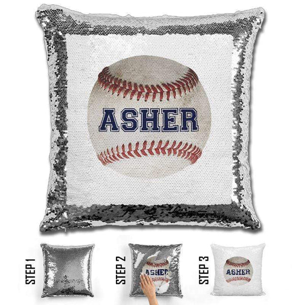 Baseball Personalized Magic Sequin Pillow Pillow GLAM Silver