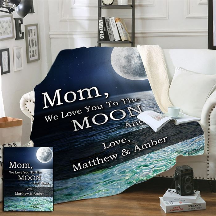 Mom & Grandparent Love You To The Moon And Back Personalized Blankets