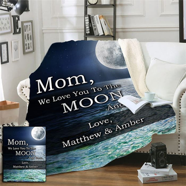 Mom & Grandparent Love You To The Moon And Back Personalized Sherpa Blanket