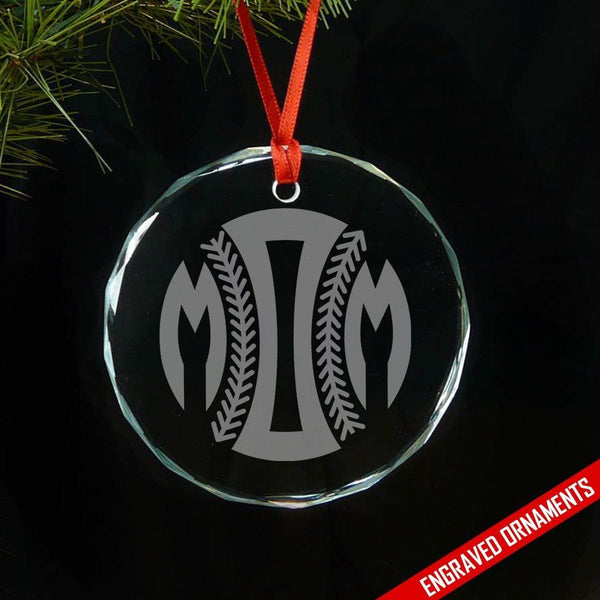Softball Baseball Mom Premium Engraved Glass Ornament ZLAZER Circle Ornament