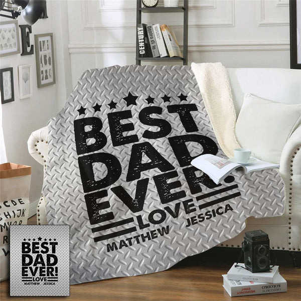 Best Dad Ever Personalized Diamond Plate Look Sherpa Blanket