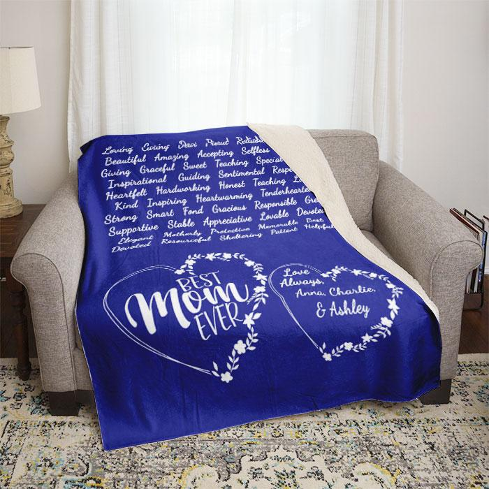 Best Mom Ever Words of Love Personalized Mom Throw Blankets