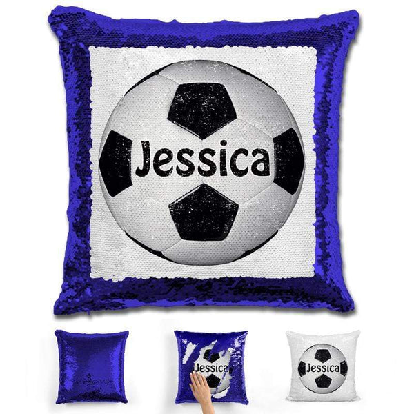 Soccer Personalized Magic Sequin Pillow Pillow GLAM Blue Black