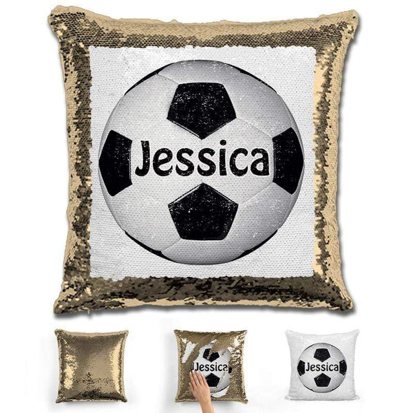 Soccer Personalized Magic Sequin Pillow Pillow GLAM Gold Black