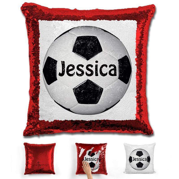 Soccer Personalized Magic Sequin Pillow Pillow GLAM Red Black