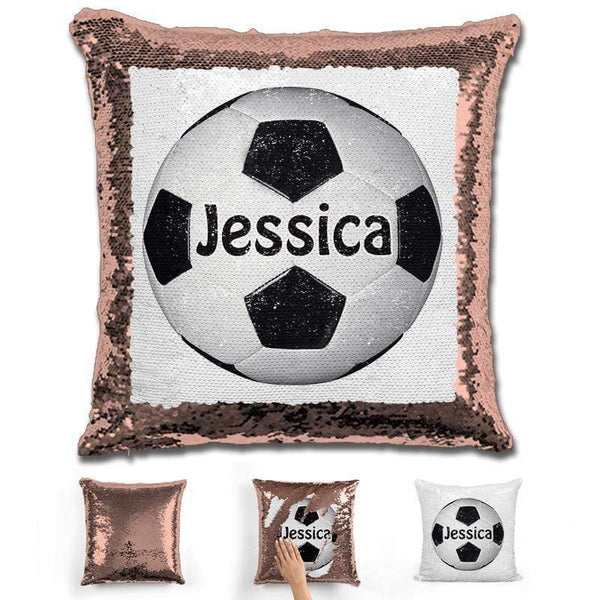 Soccer Personalized Magic Sequin Pillow Pillow GLAM Rose Gold Black