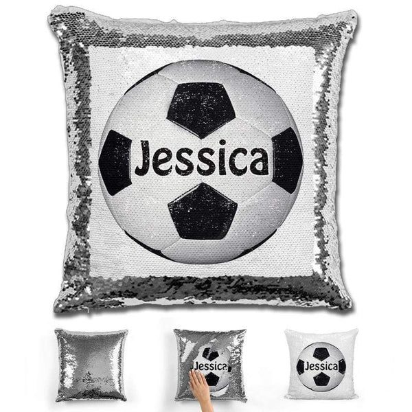 Soccer Personalized Magic Sequin Pillow Pillow GLAM Silver Black