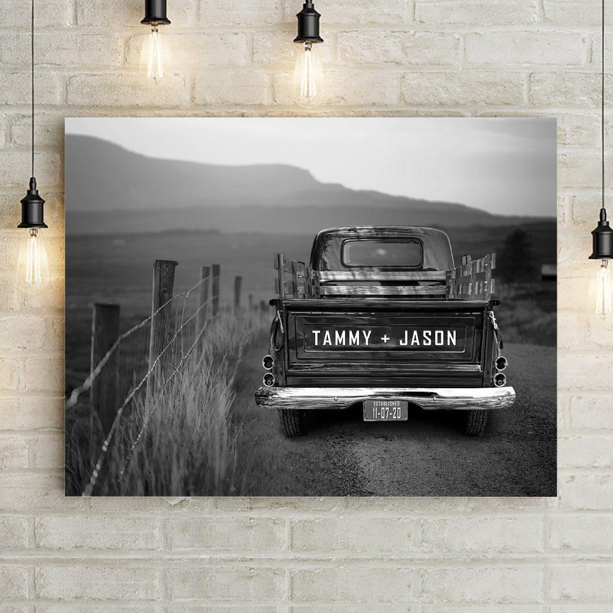 Black and white vintage truck wall art custom canvas print. Classic truck tailgate is personalized with names, and license plate is personalized with custom text and/or date. Vintage truck canvas art is on an old dirt country road landscape. Add Optional text including Thankful Grateful Blessed Wall Art with optional Broken Road Quote. Choose from medium, large, or extra large canvas wall art sizes. Pefect gift for classic truck lover.