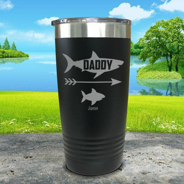 Daddy Shark (CUSTOM) With Child's Name Engraved Tumblers Tumbler Southland 20oz Tumbler Navy
