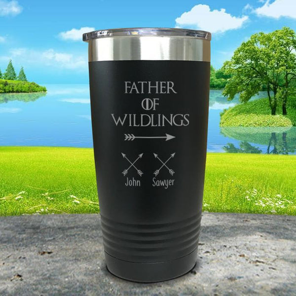 Father Of Wildlings (CUSTOM) With Child's Name Engraved Tumblers Tumbler ZLAZER 20oz Tumbler Black