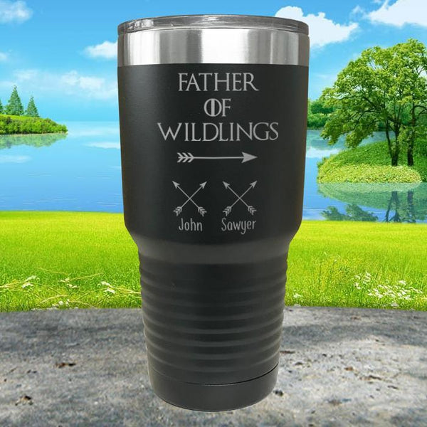 Father Of Wildlings (CUSTOM) With Child's Name Engraved Tumblers Tumbler ZLAZER 30oz Tumbler Black