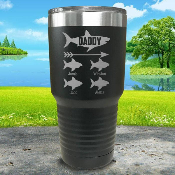 Daddy Shark (CUSTOM) With Child's Name Engraved Tumblers Tumbler Southland 30oz Tumbler Black