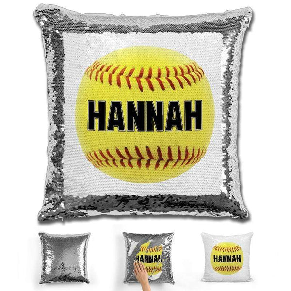 Softball Personalized Magic Sequin Pillow Pillow GLAM Silver Black