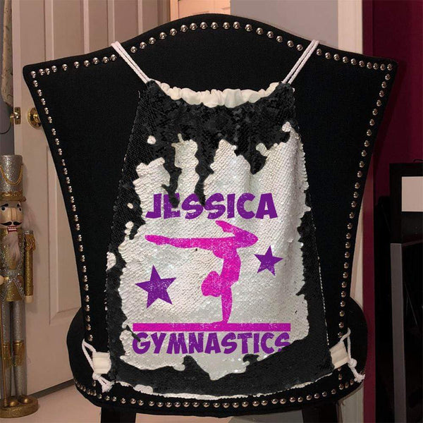Personalized Gymnastics Magic Sequin Backpacks Sequin Backpack BLINGZ Black