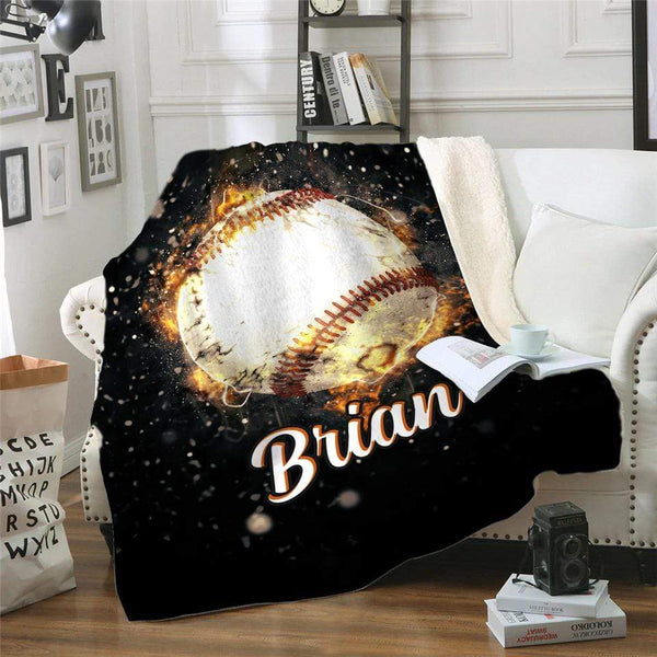 Fire Baseball Personalized Sherpa Blanket