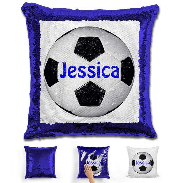 Soccer Personalized Magic Sequin Pillow Pillow GLAM Blue Dark Blue