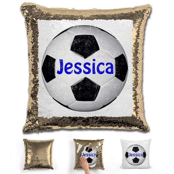 Soccer Personalized Magic Sequin Pillow Pillow GLAM Gold Dark Blue