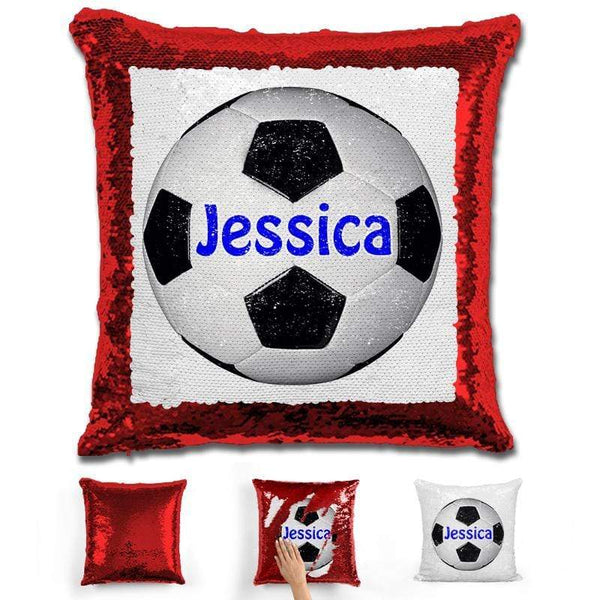 Soccer Personalized Magic Sequin Pillow Pillow GLAM Red Dark Blue