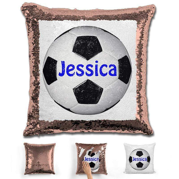 Soccer Personalized Magic Sequin Pillow Pillow GLAM Rose Gold Dark Blue