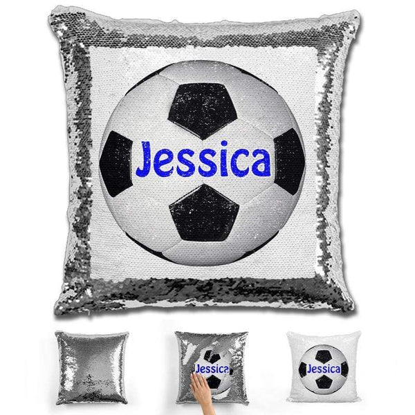 Soccer Personalized Magic Sequin Pillow Pillow GLAM Silver Dark Blue