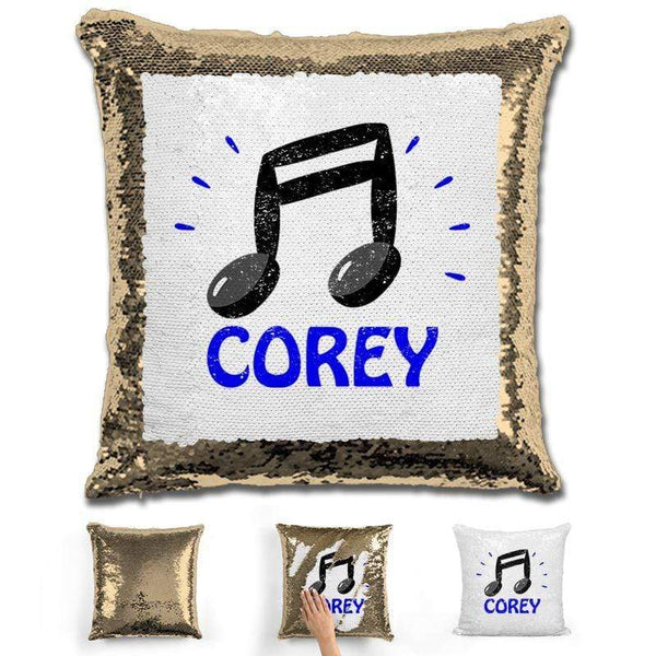 Music Note Personalized Magic Sequin Pillow Pillow GLAM Gold Blue