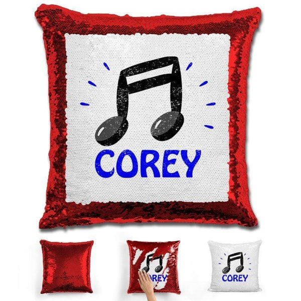 Music Note Personalized Magic Sequin Pillow Pillow GLAM Red Blue