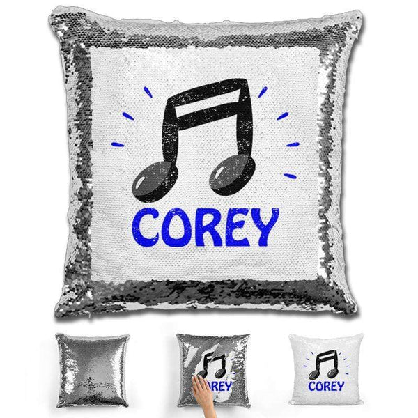 Music Note Personalized Magic Sequin Pillow Pillow GLAM Silver Blue