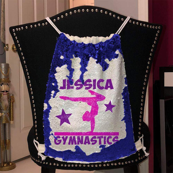 Personalized Gymnastics Magic Sequin Backpacks Sequin Backpack BLINGZ Blue