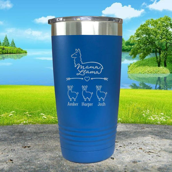 Mama Llama (CUSTOM) With Child's Name Engraved Tumblers Tumbler ZLAZER 20oz Tumbler Blue