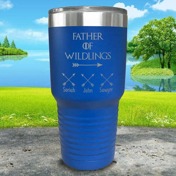 Father Of Wildlings (CUSTOM) With Child's Name Engraved Tumblers Tumbler ZLAZER 30oz Tumbler Blue
