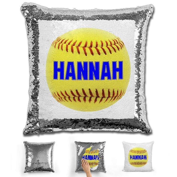 Softball Personalized Magic Sequin Pillow Pillow GLAM Silver Blue