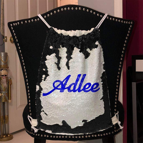 Personalized Magic Sequin Name Backpacks Sequin Backpack BLINGZ Black Blue