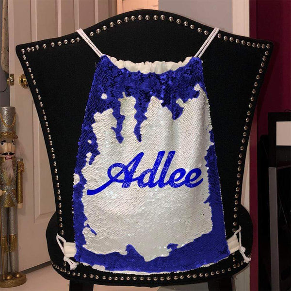 Personalized Magic Sequin Name Backpacks Sequin Backpack BLINGZ Blue Blue