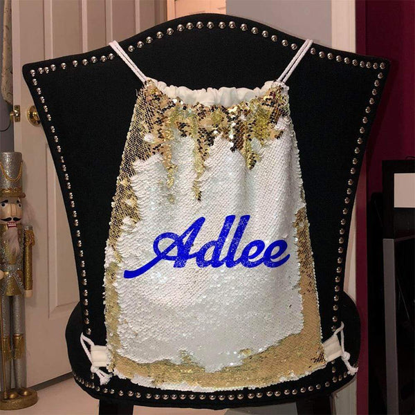 Personalized Magic Sequin Name Backpacks Sequin Backpack BLINGZ Gold Blue