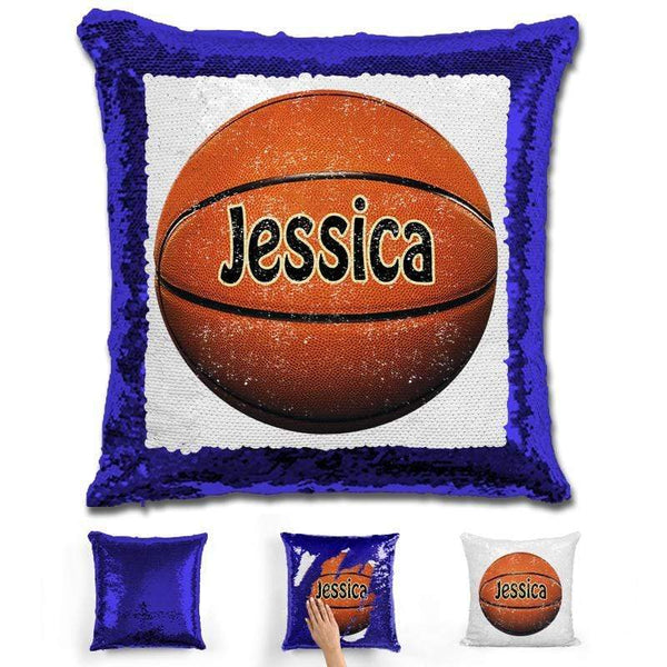 Basketball Personalized Magic Sequin Pillow Pillow GLAM Blue