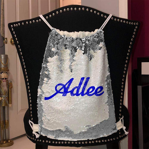 Personalized Magic Sequin Name Backpacks Sequin Backpack BLINGZ Silver Blue
