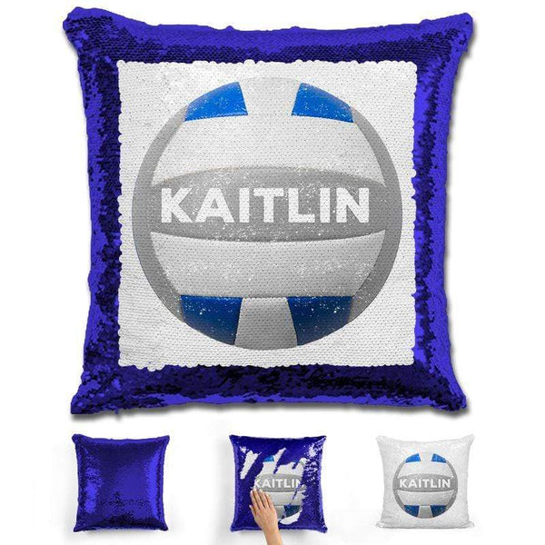Volleyball Personalized Magic Sequin Pillow Pillow GLAM Blue