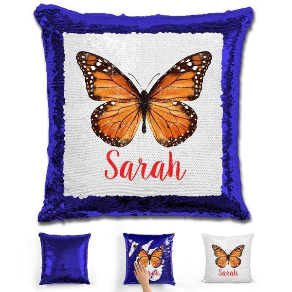 Butterfly Personalized Magic Sequin Pillow Pillow GLAM Blue