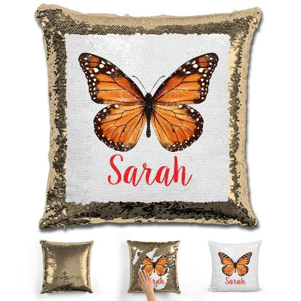 Butterfly Personalized Magic Sequin Pillow Pillow GLAM Gold